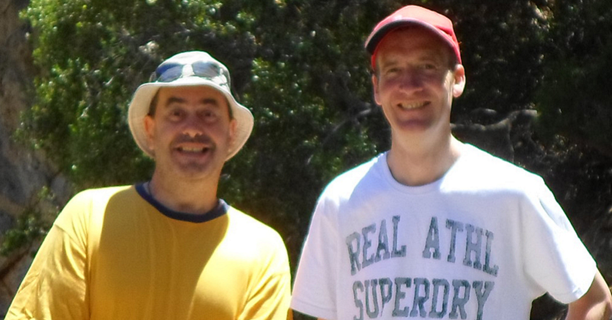 Myself & Val Wilson hiking a gorge